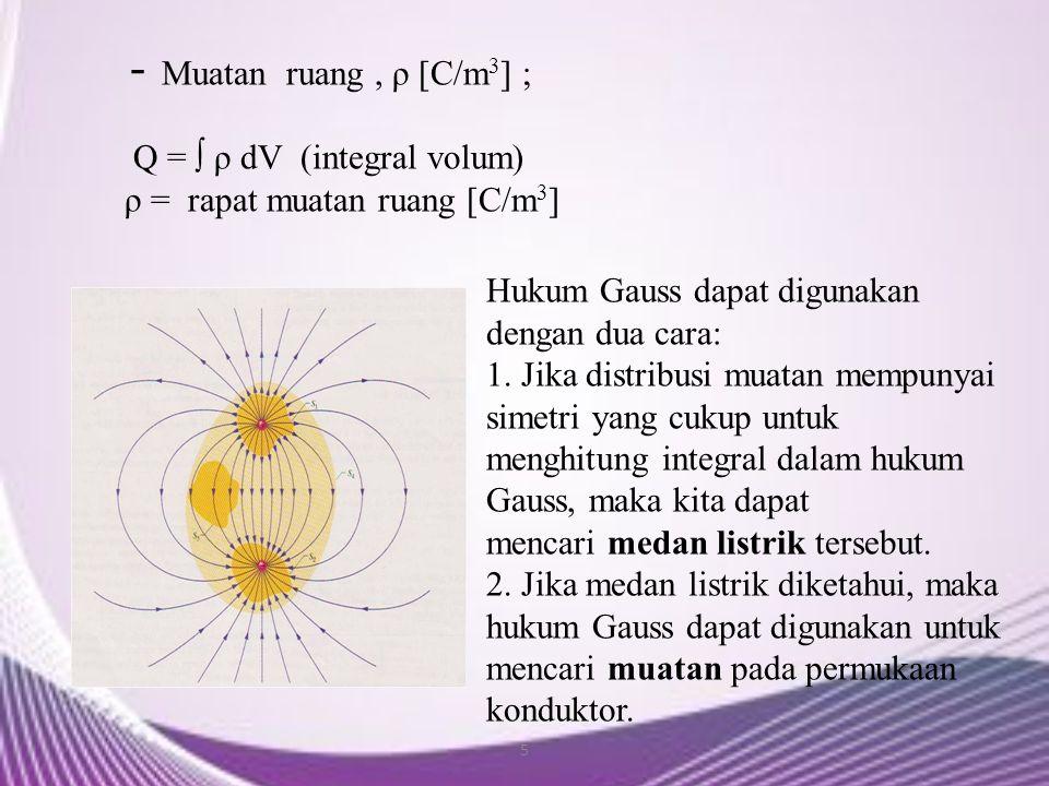 - Muatan ruang , ρ [C/m3] ; Q = ∫ ρ dV (integral volum)